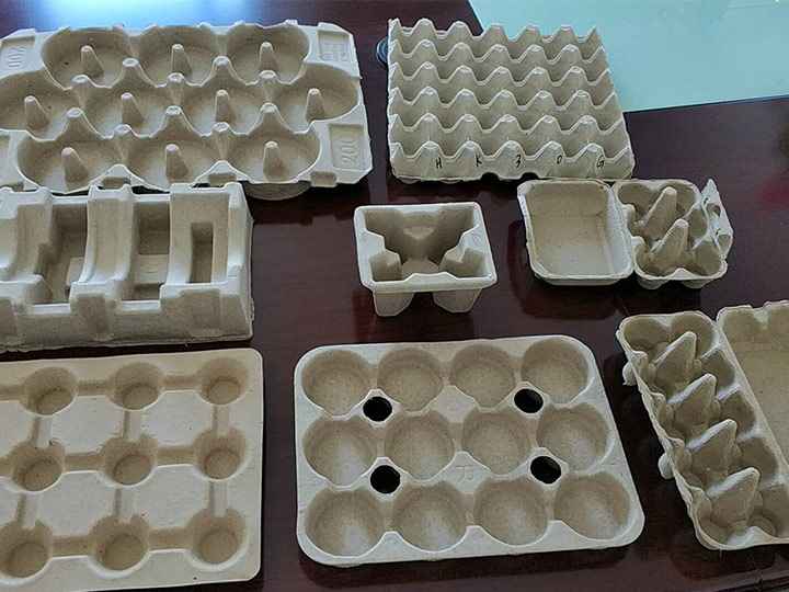 various paper pulp trays made by the egg tray production line